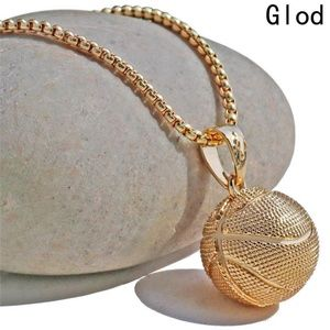 No Brand Accessories - 3D Basketball Gold Color Pendant Chain - New